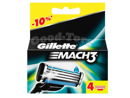 Картриджи Gillette MACH 3, оригинал, 1уп.=4шт.