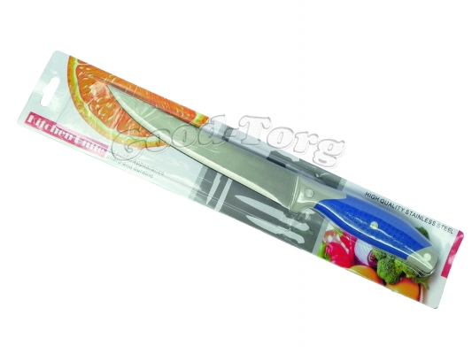 Нож на планшете №3 длинный узкий, синяя резиновая ручка, 305 мм., Китай.