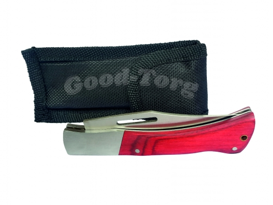 Нож складной в чехле №1, 170 мм., маленький, пластиковая бордовая ручка