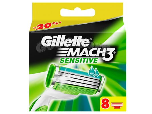 Картриджи Gillette MACH 3 SENSITIVE, оригинал, 1 уп = 8 шт. (Германия)