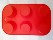 Силиконовая форма для выпечки Кекс круглый 6 гл. Гл. 4 см. Дл 26 см. Шир. 17 см. диам. ячеек 6 см.